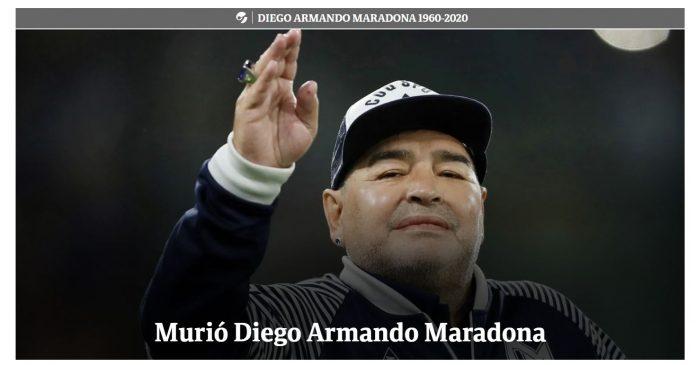 Diego Armando Maradona, la copertina di Clarin