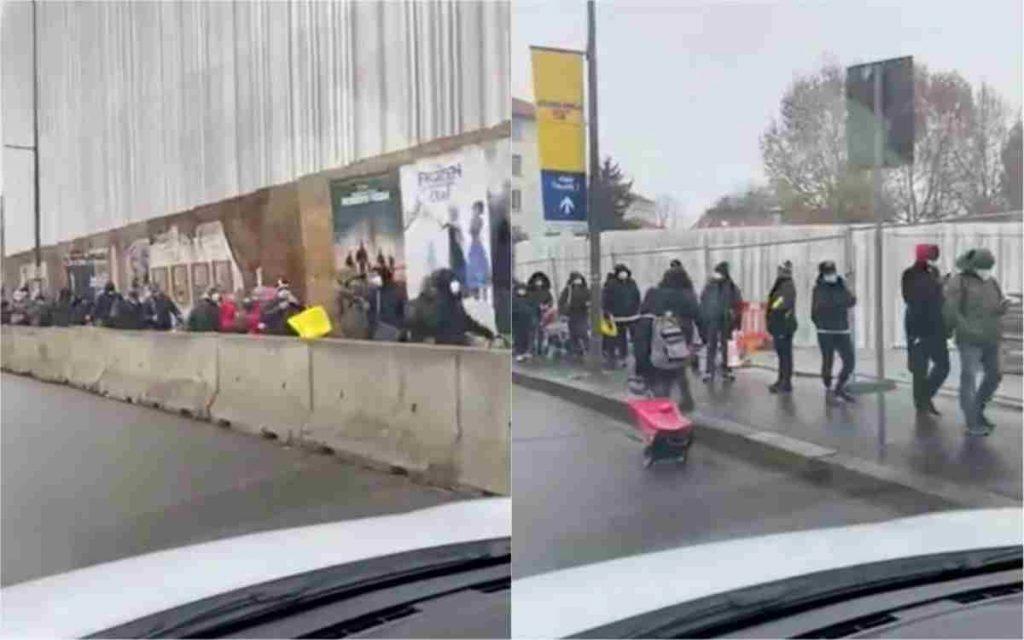 Fila per pasti davanti all'associazione pane quotidiano a Milano. Il video virale