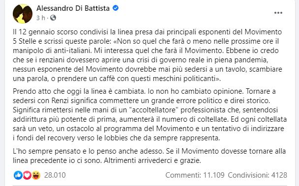Post di Alessandro di Battista