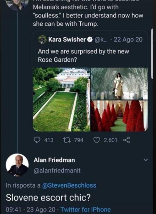 Tweet sessista melania trump Alan Friedman