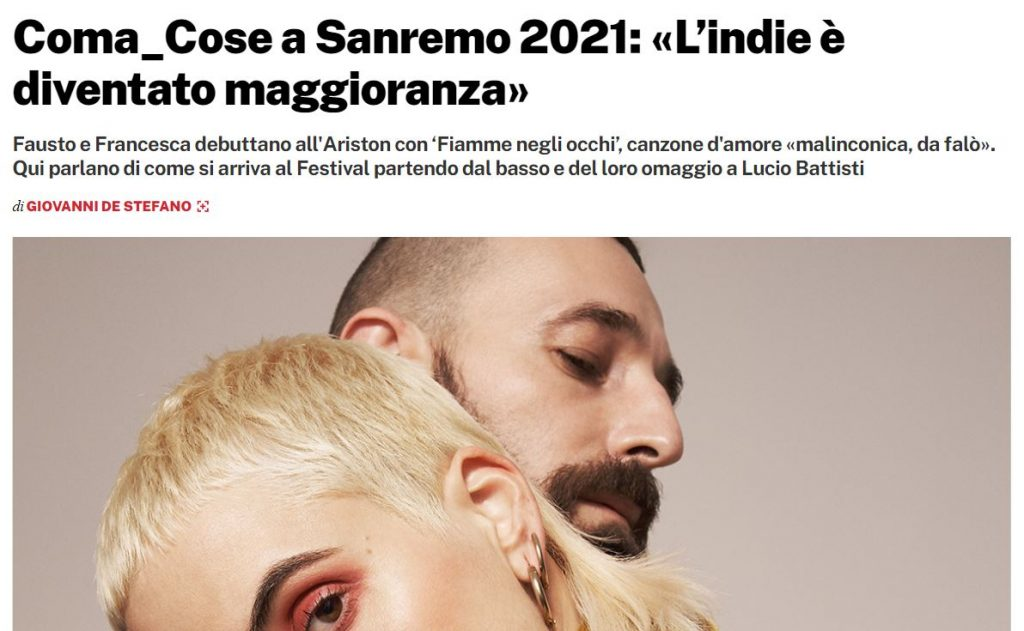 Sanremo 2021 |  chi sono i Coma_cose |  coppia nella vita e coppia sul palco che porta 'Fiamme negli occhi'