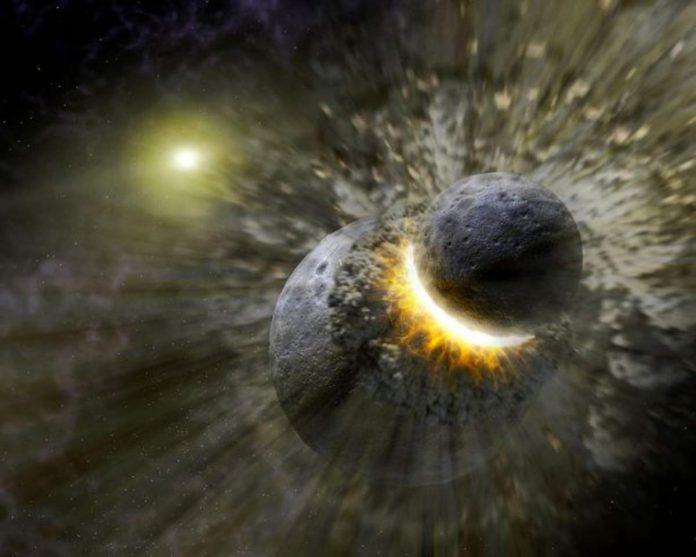 pianeta impatto gigante terra luna
