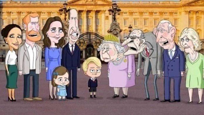 famiglia reale cartoon principe filippo