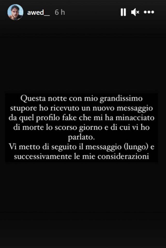 Awed messaggio su instagram