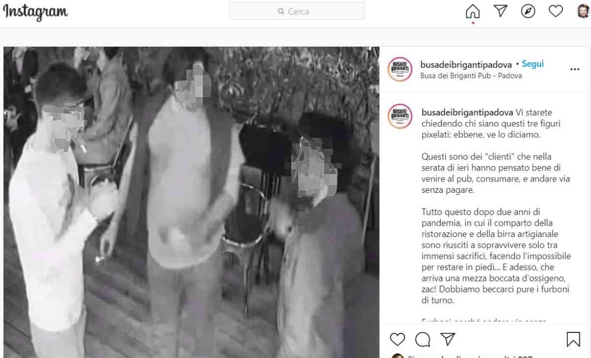 fuggono pub padova telecamere