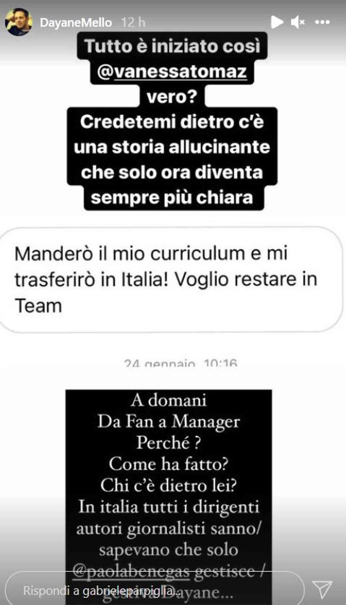 Gabriele Parpiglia Dayane Mello molestie