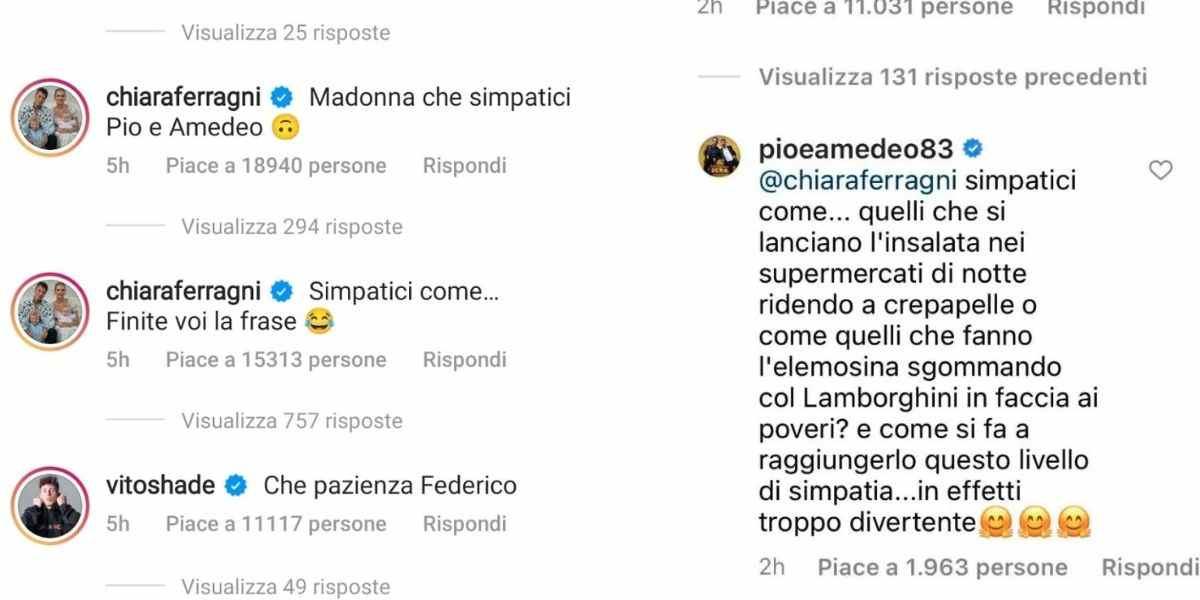 Pio e Amedeo e Chiara Ferragni botta e risposta su Instagram