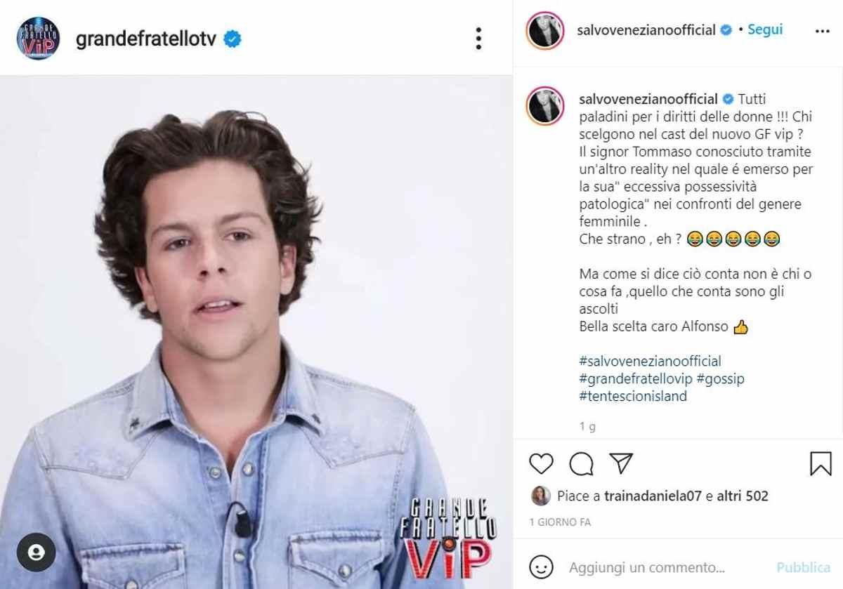 salvo veneziano attacca tommaso eletti su instagram