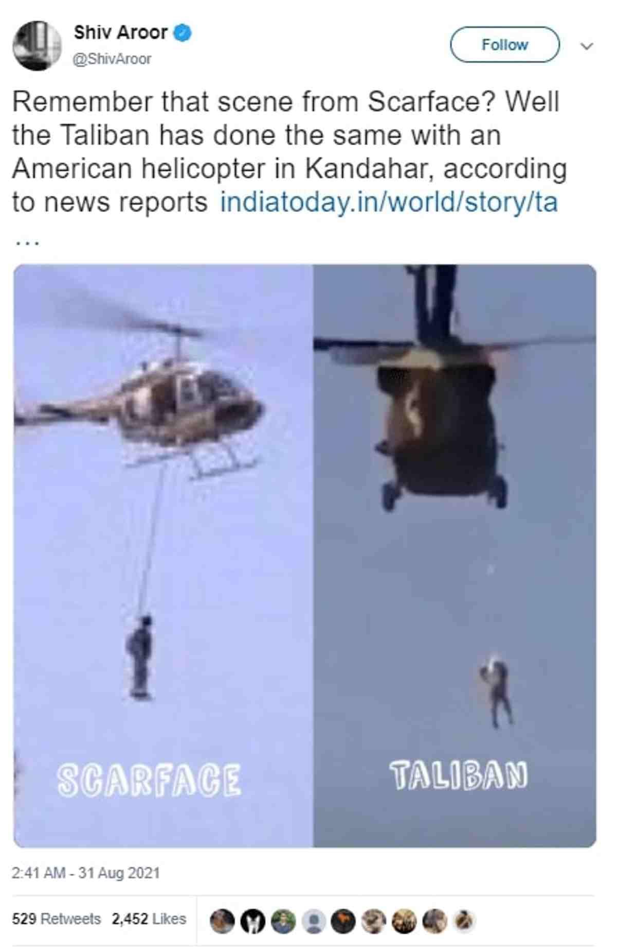 video uomo impiccato elicottero afghanistan talebani